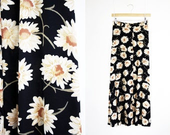 Republic Brand Vintage Sunflower 90's Button Down High Waist Elastic Waist Woman's Retro Maxi Skirt