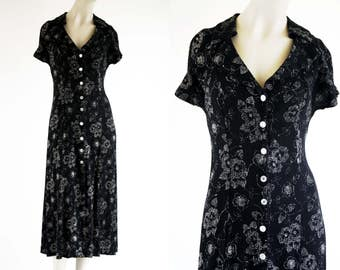 S. Roberts 90's Vintage Black and White Button Front Collared Short Sleeve Midi Length Retro Woman's Dress