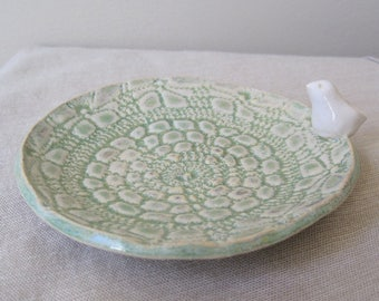 Sage Green Ring Holder, Jewelry Catch All Pottery, Stoneware Bird Dish, Ring Dish, Jewelry Storage