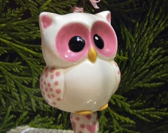 Ceramic  Owl Ornament in Fushia   Pink   Baby   Owl  cm