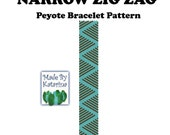 Peyote Pattern - Narrow Zig Zag - INSTANT DOWNLOAD PDF - Peyote Stitch Bracelet Pattern - One Drop Even Peyote Pattern