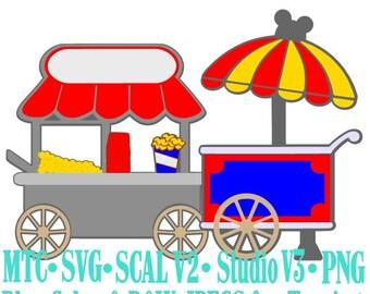 Amusment Park Treat Popcorn Snack Carts MTC  SVG Cut Files B&W Traceable JPEG