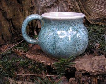 Gourd  Mug 14oz.,   glaze mug / tea mug/ coffee mug / sensuous feel, handmade pottery plus two custom leaf mugs