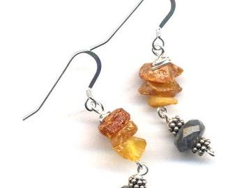 SALE Sterling Silver Amber Earrings, Labradorite Earrings, Sterling Silver Grey Labradorite Earrings, Sterling Silver Jewelry by AnnaArt72