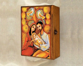 Nativity Holy Family box, Nativity box, Virgin Mary and Jesus mother and son tree of life, christian box, jewelry box, 7x10