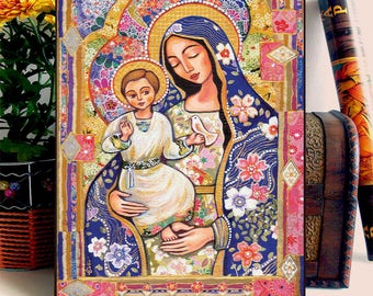 Mary and Jesus Folk Art Icon Religious Painting Mothers Love Mother and Child Wall Decor, Home Decor, Panagia Eleousa, ACEO wood block, DH