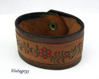 Leather Bracelet Floral Vine 1969