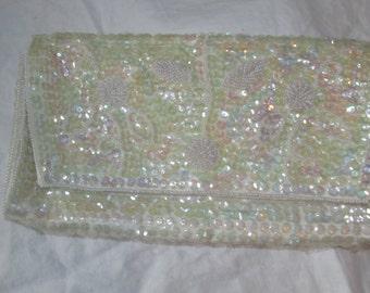 Vintage White Beaded Evening Bag Vintage Clutch Sequin Purse Snap Clasp Sequin Purse Japan Wedding Purse Bridal Purse 1950s 50s