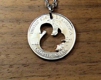 Squirrel Necklace, Squirrel Pendant, Key Chain, Squirrel Keychain, Cut Coin Jewelry, Squirrel Jewelry, Charm Necklace, Coin Art