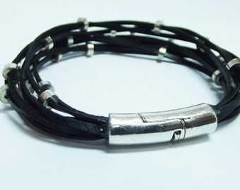 Leather Bracelet, Black, Multi-Thong Beaded,Magnetic Clasp,Unique Bracelet,Special Gift For Her, Everyday Bracelet