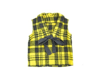 Cropped 60s Wool Tank Top 50s Plaid Knit Sweater Yellow Gray Sleeveless Knit Top School Girl Sweater Top Minimal Ascot Tie Womens XS
