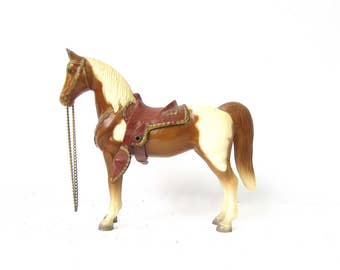 Vintage 1950s Breyer Horse Toy WESTERN Saddle Brown and White Mid Century Plastic Toy Horse Collectible