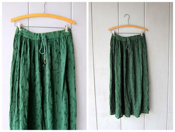 Dark Green Hippie Skirt Floral Embroidered Skirt Boho Semi Sheer Gypsy Bali Skirt Summer Drawstring Waist Skirt DES Womens Small Medium