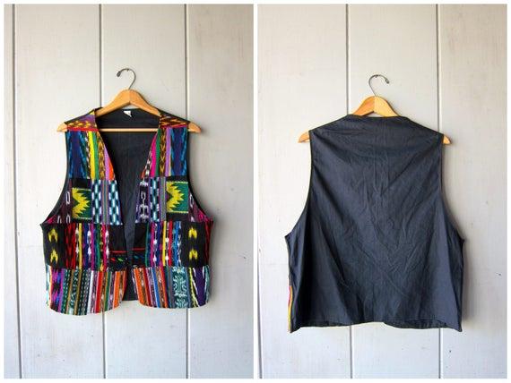 Vintage Guatemalan Vest Colorful Patchwork Tribal Vest Ethnic Jacket Ikat Design Embroidered Woven Cotton Bohemian Vest Boho Hippie DES XL