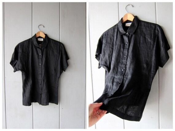 90s Black LINEN Blouse Button Up Cap Sleeve Basic Shirt Simple Modern Black Linen Tshirt Minimal Tee Vintage DES Womens Medium