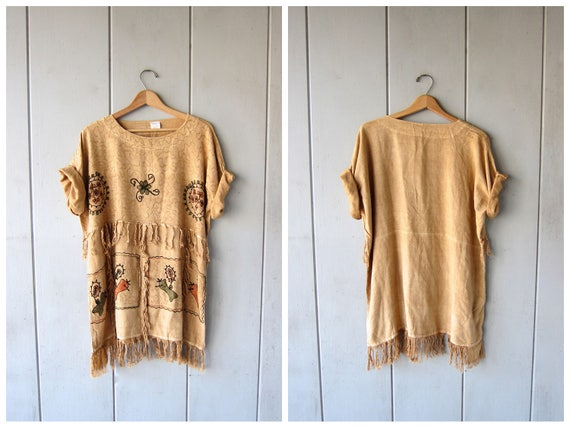 90s Oversized Tunic Top Haystack Yellow Loose Fit Ethnic Shirt BOHO Hippie Indian Tribal Floral Embroidered Top FRINGE Vintage Womens XL