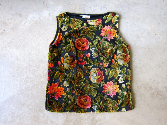 60s TAPESTRY Top Thick Velvet Sleeveless Blouse Carpet Textured Tank Top Floral Blouse Black Pink Green Textured Flower Print Top Small