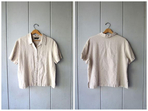 Natural Linen Blouse Cropped Minimal Top Button Up Short Sleeve BOXY Tee Beige 90s Modern Basic Top Vintage Womens Large