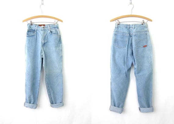 80s High Rise Jeans Washed Out Blue Jeans Tapered Leg Mom Jeans Vintage 1980s Bon Jour Jeans High Waist Faded Blue Denim Womens 7/8