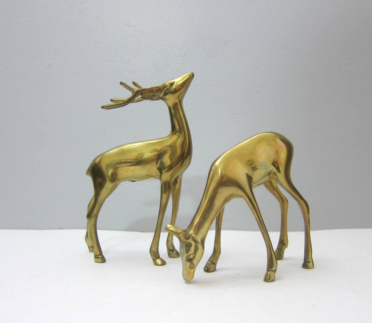 2 Brass Deer Pair Of Vintage Reindeer Figurines Two Gold