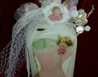 Altered Bottle, Shabby Chic Bottle, Cherub, Valentine Decor, Birds Eye Netting, Decorated Bottle, Glass Bottle, French Chic Decor,