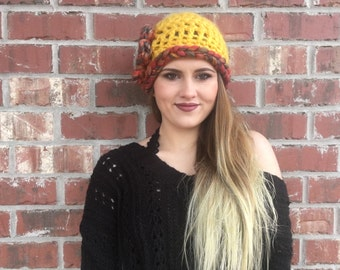 Crochet Winter Hat, Handmade Gold Womes Winter Beanie