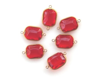 Red Acrylic Brass Channel Set Faceted 2 Loop Charms, Red Connector Rivoli beads, 6