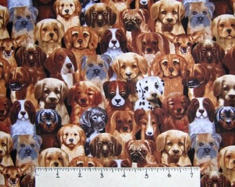 Pet Fabric - Michael Searle Puppy Dogs Packed C3257 - Timeless Treasures YARD