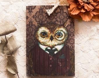 Illustrated notebook - A6 - A5 notebook - Owl - Peter Bird