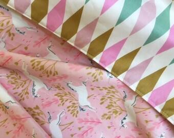 Minky Blanket Unicorns Pink Gold Blanket  Baby Nursery Stroller Shower gift Sarah Jane Minky Nostalgia by Jennifer Paganelli  gifts under 30