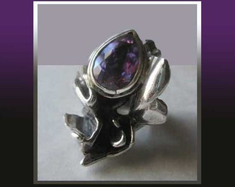 BRUTALIST AMETHYST-Alfred Karram Huge Ornate Sterling Silver/Faceted Amethyst Ring,Lost Wax Cast,Modernist Jewelry,Women