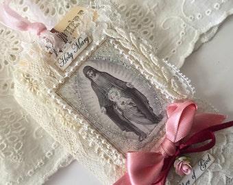 Virgin Mary Gift Tag Mxed Media Art Tag Catholic Gift Religious Card