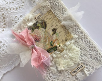 Rose Travel Journal, Shabby Notebook, Lace Mini Journal, Fabric Book