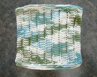 Hand Knit Dishcloth - measures approximately 8x81/2 inches