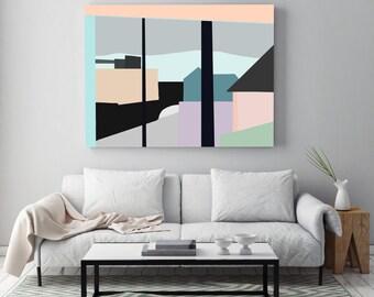 Abstract Digital Painting 22nd Ave by Jules Tillman - Fine Art Lustre Print - Wall art. Minimal Art