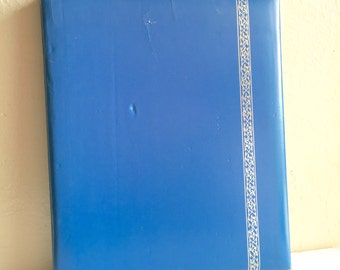 Large Bright Blue Photo Album Scrap Book for Photographs Worn Cream Pages