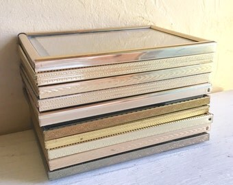 Set Gold Metal Picture Frames 5x7 with Glass Wedding Decor Table Numbers 10
