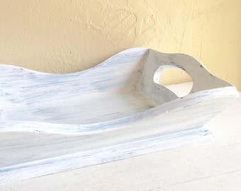 Farmhouse Style White Curvy Wood Tray Wooden Bowl with Handles Shabby Chic