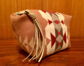 Wool Clutch Unlined / Travel Bag / Cosmetic Bag / Makeup Bag Large Salmon Southwest Tribal Handcrafted From Pendleton Woolen Mill Fabric