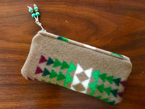 Wool Sunglasses Case / Glasses  Case / Tampon Case / Zippered Pouch Tan Chief Joseph