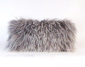 Mongolian Fur Pillow ~ Grey Fur Pillow ~ Genuine Mongolian Lamb ~ Gray Mongolian Accent Pillow ~ Grey and White ~ Mongolian Lumbar Pillow