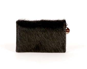 Black Leather Wallet ~ Hair on Hide Wallet ~ Black Card Case