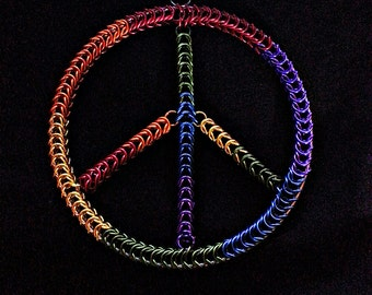 Give Peace A Chance  Chainmail Pagan Dream Catcher Ornament LGBT Rainbow Peace Sign
