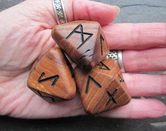 Unique and Exclusive - Rune Dice - in Antique English Elm Wood. Set 103.