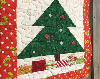 Mini Quilt - Whimsy Christmas Tree 15 inch x 16 inch - Quilted wall hanging / holiday / paper piecing / home decor / applique / patchwork