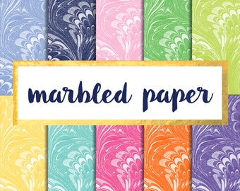 Buy2Get1Free with Code XMASINJULY! Marbled Digital Paper Pack (Instant Download)