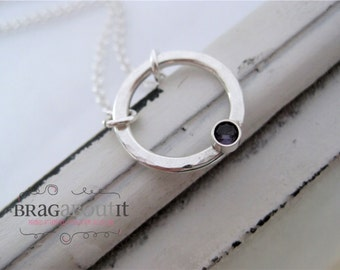Circle Necklace . Hammered Birthstone Necklace . Sterling Silver Necklace . Simple Necklace . Brag About It