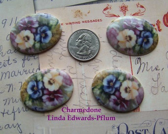 Cameos Gorgeous Pansy Mix 4 40x30 Handmade Porcelain Decals