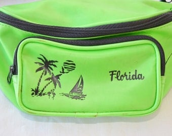 Vintage Florida Fanny Pack 1980s Hot Green Lime Green Tropical Paradise