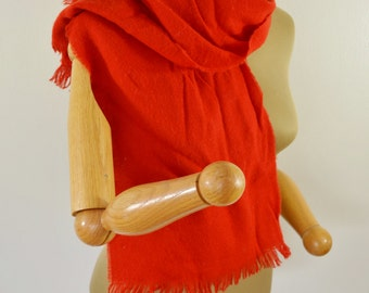 last chance Vintage Red Acrylic Scarf Made in Japan Nice and Warm for Winter Simple Solid Color